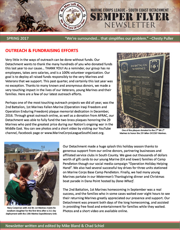 Newsletter semper flyer marine corps league south coast read our latest newsletter semper flyer view spring 2017 semper flyer pdf sciox Images