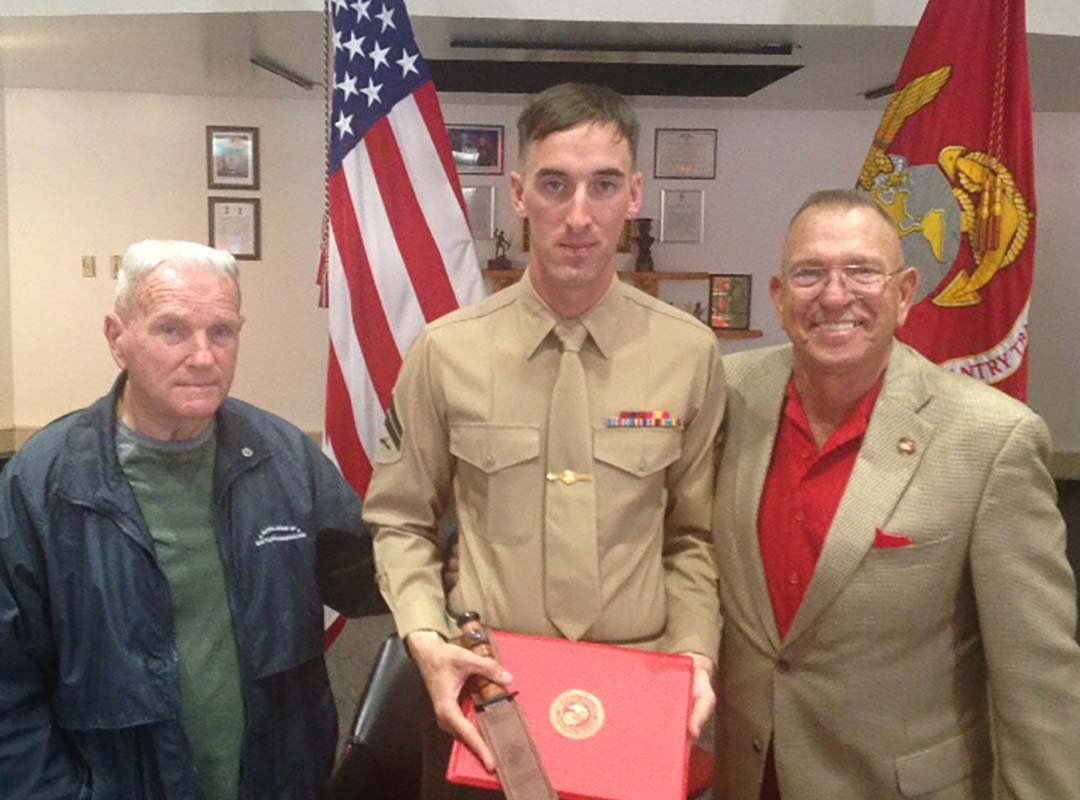 "Cpl Bailey-Top Advanced Infantry Course Marine-receives ""Gung Ho"" Award (A K-Bar Knife with his Name Engraved)-3/16"